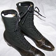 Victorian Cloth and Leather Lace-Up Boots