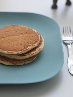 These buttermilk pancakes are our house favourite. They have an appealing tang and complexity of flavour, and the added step of folding in the egg whites gives them a natural fluffy airiness (which is further sustained by baking powder).
