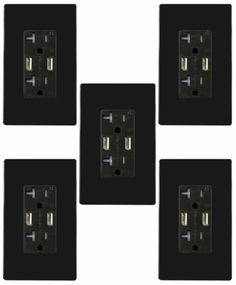 4A-High-Speed-Dual-Wall-Outlet-with-USB-Charger-Duplex-20A-Receptacle-Black-5-PK
