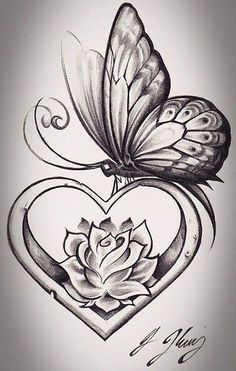 Butterfly tattoo flower and butterfly tattoos, butterfly sketch, butterfly with flowers tattoo, lotus Butterfly Sketch, Butterfly Tattoo Designs, Heart Tattoo Designs, Butterfly Art, Rose And Butterfly Tattoo, Simple Butterfly, Monarch Butterfly, Heart With Flowers Tattoo, Rose Heart Tattoo