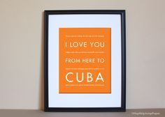 Cuba+Travel+Art+I+Love+You+From+Here+To+CUBA+by+HopSkipJumpPaper,+$15.00