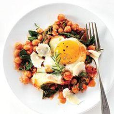 Eggs with Chickpeas, Spinach, and Tomato | MyRecipes.com