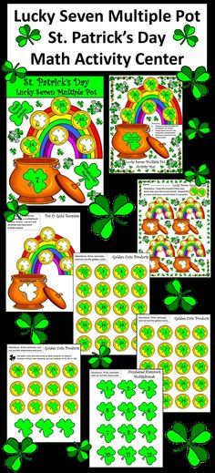 Lucky Seven Multiple Pot: A St. Patrick's Day math center providing a fun and hands-on way for students to practice multiplication facts from 1-12 in multiples up to 7.  Contents include: * Lucky Seven Multiple Pot Activity Mat * Student Record Sheet * Bulletin Board Template Activity * Twelve Numbered Shamrock Multiplicand Pieces * 43 Golden Multiple Coin Pieces * 3 Blank Shamrock Pieces * 8 Blank Golden Coin Pieces  #St. #Patrick's #Day #Math #Center #Activities #AnnDickerson