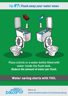 place a full water bottle inside the flush tank to reduce the amount of water used per flush