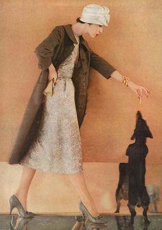 November Vogue vintage dachshund love this look! Vintage Dachshund, Dachshund Love, Vintage Dog, Daschund, Vintage Glam, Lauren Bacall, 1950s Fashion, Vintage Fashion, Mom Fashion