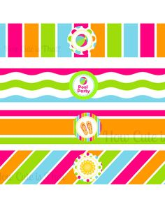 Pool Party Water Bottle Wrappers Printable by HowCuteIsThatParty, $8.00