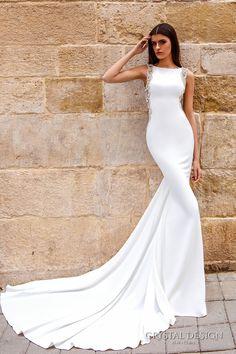 crystal design bridal 2016 sleeveless bateau neckline lightly embellished elegant chic modern sheath wedding dress low back chapel train (july) mv