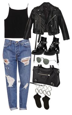 """""""Untitled #2400"""" by hiitsbre ❤ liked on Polyvore featuring T By Alexander Wang, Balenciaga, Nasty Gal, ASOS, Ray-Ban and Accessorize"""