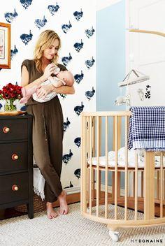 Guerrin Gardner With Her Son Buck in His Nursery