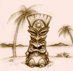 Rough Pencil sketch of Tiki vierstradesign.com © 2011