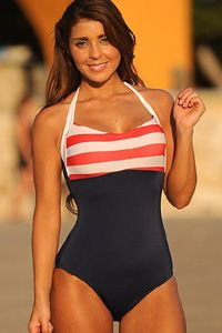 Sailor Girl One Piece Swimsuit Be a Sexy Sailor Girl in this full coverage one-piece swimsuit that will make you look slim, trim, sexy and oh so Pin-Up! The striped Halter Top supports your curves in all the right places while the solid body style is very slimming. Perfect for all body types and extra sexy on full figures, and will look great on long torsos. http://www.bikinisunshine.com/one_piece_swimsuit_uj_z118.htm