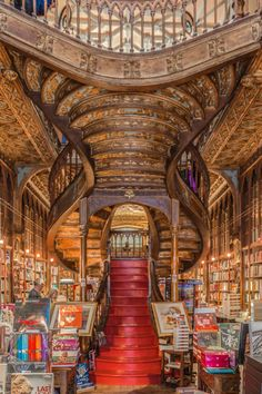Livraria Lello Bookshop - Livraria Lello Bookshop Open since 1906, Livraria Lello is a bookstore located in central Porto, Portugal. It is one of the oldest bookstores in Portugal. Designed by Francisco Xavier Esteves (1864-1944), It is also a place for social gatherings, performances and a serene library for many avid readers. It receives thousands of visitors from around the world, who visit to see its neo-Gothic architecture. — in Porto, Portugal