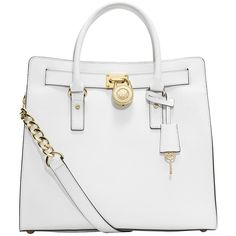 MICHAEL MICHAEL KORS Hamilton Large Leather Tote Bag ($358) ❤ liked on Polyvore featuring bags, handbags, tote bags, purses, michael kors, totes, optic white, structured tote bag, leather purse and white handbags