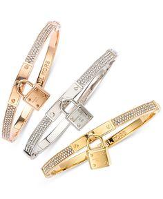 Michael Kors Bracelet, Gold-Tone Padlock Charm Bracelet - Fashion Jewelry - Jewelry & Watches - Macy's