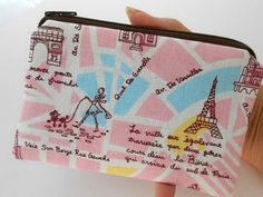Paris Life in Pink Coin Purse Zipper Pouch Padded ECO Friendly by JPATPURSES, $9.00