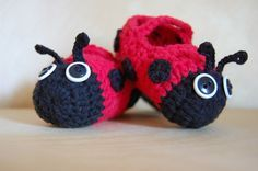 Adorable Ladybug Crocheted Mary Janes ~ Baby Slippers ~ Baby Shoes by OrgaknitsbyBrielle on Etsy https://www.etsy.com/listing/152842413/adorable-ladybug-crocheted-mary-janes