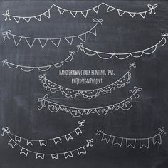 Hand drawn chalk bunting clipart- doodle chalk bunting - Scrapbook embellish- Invitation-Blog Graphics-Photography