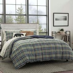 This Eddie Bauer Rugged Plaid Navy Comforter Set is a contemporary match for your room decor. Made from cotton, the comforter is cozy and warm, lending you the much required comfort after a long, busy day. Pair the comforter with the included sh Plaid Comforter, Twin Comforter Sets, King Comforter, Bedding Sets, Bedroom Comforters, Comforter Cover, Bedspreads, Duvet Covers, Eddie Bauer