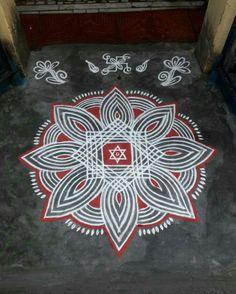Rangoli Designs Latest, Simple Rangoli Designs Images, Rangoli Designs Flower, Rangoli Border Designs, Rangoli Ideas, Rangoli Designs Diwali, Rangoli Designs With Dots, Beautiful Rangoli Designs, Easy Rangoli