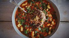 Mozzarella meatball and minestrone soup