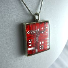 Techcycled Circuit Necklace Red, $38, now featured on Fab.