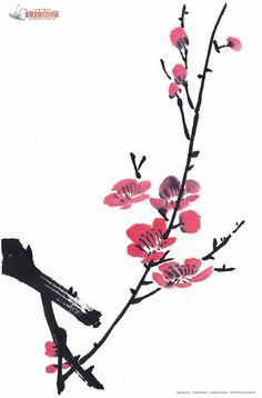 plum Sakura Painting, Sumi E Painting, Japan Painting, Chinese Painting, Japanese Drawings, Japanese Art, Watercolor And Ink, Watercolor Flowers, Asian Paints
