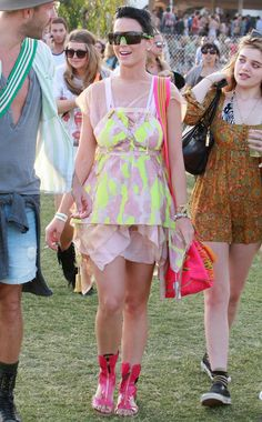 Pin for Later: Coachella Is Basically a Celebrity Paradise  Katy Perry got colorful in the 2010 Coachella crowd.