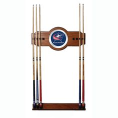 Trademark Commerce NHL6000-CBJ NHL Columbus Blue Jackets 2 piece Wood and Mirror Wall Cue R