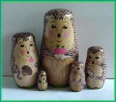 Nesting Dolls Hedgehog Wildlife Animals, Waldorf Playset 5pcs. $39 + shipping  http://www.etsy.com/listing/34693000/nesting-dolls-hedgehog-wildlife-animals