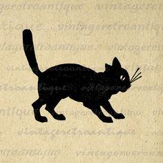 Printable Black Cat Image Graphic Digital by VintageRetroAntique