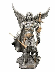 """Archangel Gabriel Statue Pewter Style Veronese Collection Large 9"""" Tall"""