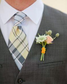 Groom's Boutonniere: Silver, lavender, orange