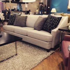 What we love: the Scroll Sofa. We love this transitional style. The tall back and full cushioning really give you a comfortable sit and can really dress up the space. #sofa #customfurniture