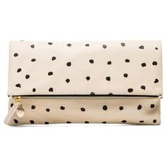 Clare V. Foldover Clutch (2,635 MXN) ❤ liked on Polyvore featuring bags, handbags, clutches, accessories, purses, borse, purse, fold over handbag, fold over clutches and pink leather purse