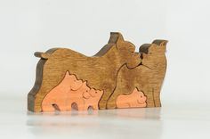 Wooden puzzle Family dogs boxers toy. Wooden handmade by Ecopuzzle