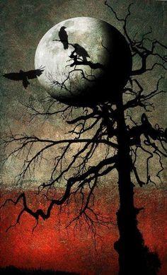 Moon & birds on tree branches art