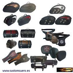 Selección de alforjas, baúles y tourpacks, en piel de primera calidad, personalizables por encargo y bolsas de depósito, bolsas traseras, alforjas y mochilas, con diferentes sistemas de fijación.