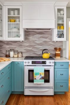 Range hood. I really like the turquoise lower cabinets but am afraid I'd hate them after awhile.