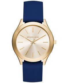 Michael Kors Women's Slim Runway Navy Silicone Strap Watch 42mm MK2511, Only at Macy's