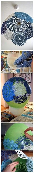 Baloon...crochet flowers...mod podge....and a beautiful hanging lamp