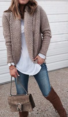 #winter #fashion / Tan Pattern Cardigan / White Top / Skinny Jeans / Brown OTK Boots