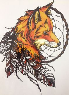 Fox and Dream Catcher High Quality Water by PaperRoseCottage
