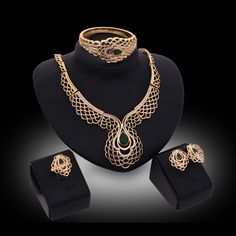 Costume Jewelry Gold Color Green Gem Fashion Nigerian Wedding African Beads Jewelry Set Crystal Choker Statement Necklace Set #Affiliate