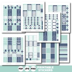Navy and mint printable monthly and weekly planner stickers kit, STI-358