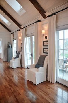 Farmhouse Living Room – white planked walls, vaulted ceilings, and lots of windows. 39 Top Home Interior Ideas That Make Your Place Look Cool – Farmhouse Living Room – white planked walls, vaulted ceilings, and lots of windows. Br House, Living Room Windows, Curtains In Living Room, Curtain Ideas For Living Room, Sconces Living Room, Living Walls, Room Rugs, Windows And Doors, Wall Of Windows