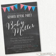 Chalkboard Gender Reveal Party Invitation on Etsy