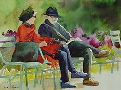 Relaxing in the Park by Connie Layne Watercolor ~ 8