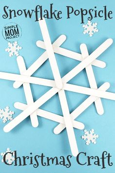 Click now to make these easy homemade Popsicle Stick Christmas Ornaments! - Click now to make these easy homemade Popsicle Stick Christmas Ornaments! Share in the classroom, a - Diy Christmas Snowflakes, Snowflake Craft, Kids Christmas Ornaments, Christmas Diy, Christmas Fireplace, Snowflake Ornaments, Popsicle Stick Snowflake, Popsicle Stick Crafts, Craft Stick Crafts