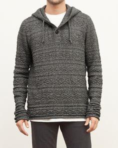 Mens Textured Henley Hoodie   Mens Sweaters   Abercrombie.com
