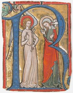 Manuscript Illumination with the Annunciation in an Initial R, from a Gradual - Date: ca. 1300 Geography: Made in Lake Constance, Switzerland Culture: Upper Rhenish Medium: Tempera, ink and gold on parchment